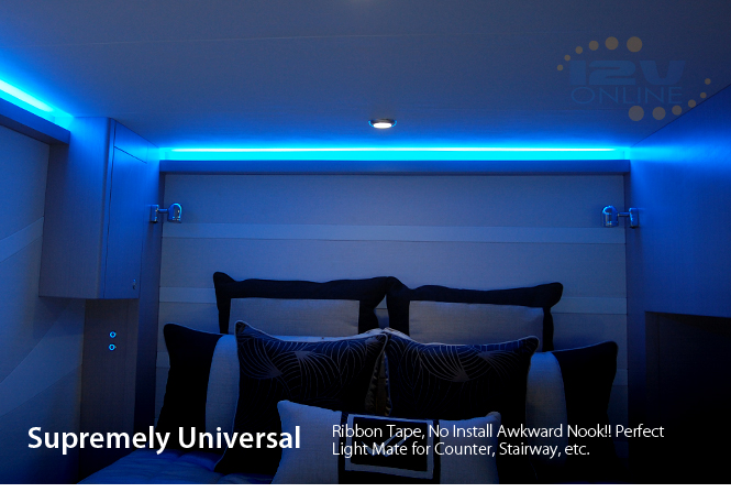 LED 12V 16 Flexible Strip Light 3528 Blue Super Bright Interior RV